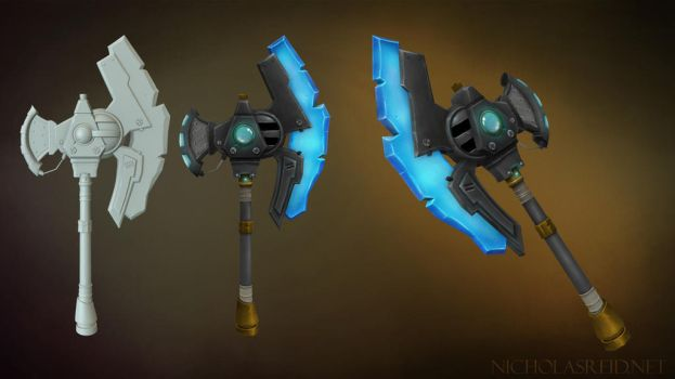 Wildstar inspired hand painted weapon by nicname48
