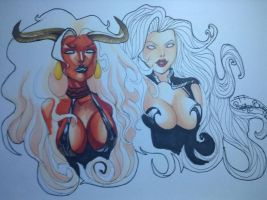 Lady demon and Lady death by KuckyzDRagingBunny