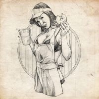 Coffee Girl Pinup Sketch by benke33