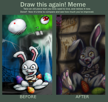 Before and After- Easter Rabbit by DoubleDandE