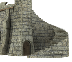 3d Fantasy Castle Stock Parts #9 brick stairs door by madetobeunique