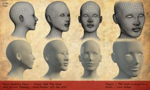 'Female Head Base' 3D Model with Topology by LBG44