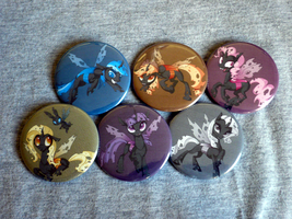 Mane 6 Changeling Buttons by sparklepeep