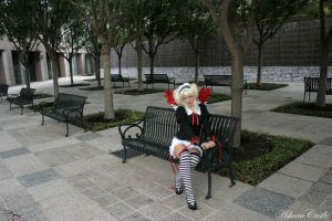 Ai on a bench in the City by AshuraCastle