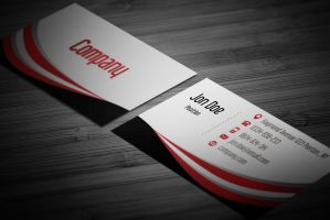 Wavy Black and Red Business Card Template by BorceMarkoski