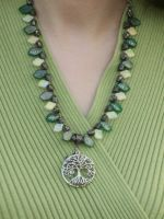Bird in Tree Necklace on Green 2 by Windthin