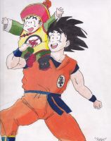 Goku and Gohan - Father and Son by 4blinds