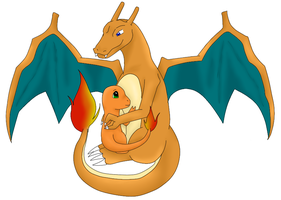 Charizard and Charmander by Tharkan
