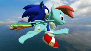 Sonic Riding Rainbow Dash by NightB1ader