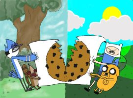 Mordecai and Rigby vs. Finn and Jake by avatura