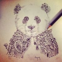 Henna Panda for tattoo design by Mymy-La-Patate