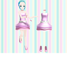 .:MMD~53 WATCHERS GIFT:Outfit with layered skirt:. by PandaSwagg2002