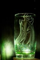 Chrysalis engraving on green dotted drinking glass by rtry