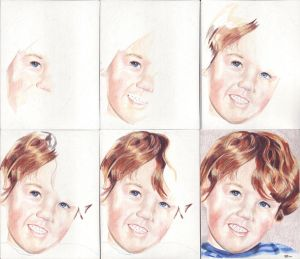 In progress scans of colored pencil drawing Little Boy