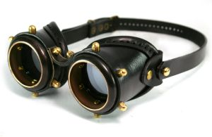 Steampunk Goggles - blackened brass black leather by AmbassadorMann