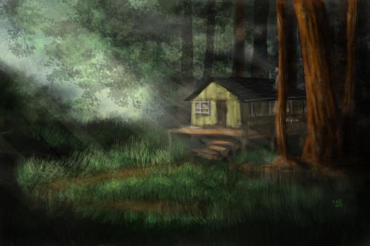 Cabin in the Redwoods Speedpaint by Callego