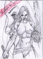psylocke sketch card... by Selkirk