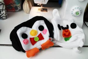 Penguin and Bunny Plushies by CosmiCosmos