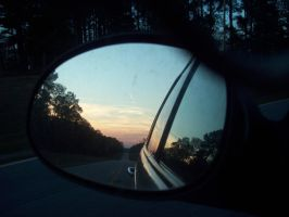 Side Mirror Sunset by DemonGirl2010