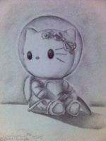 Hello Kitty in charcoal by 1peculiar-guy
