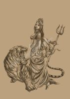 Durga and her tiger Damon by BLADEwing777