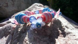 Pink And Blue Flower Stretchy Core Bracelet by Rini-Dragoone
