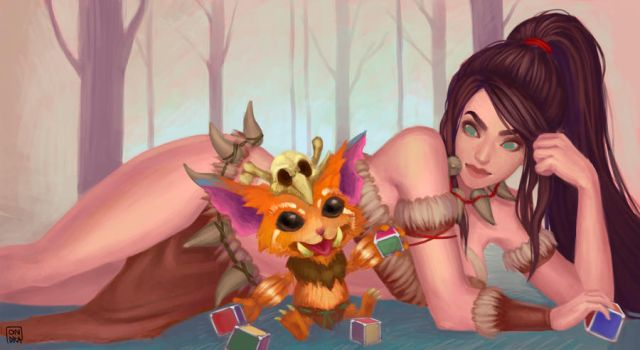 fanart nidalee and gnar ROARR by Ondraede