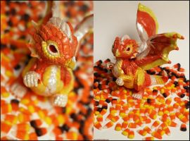 Candy Corn dragon by The-SixthLeafClover