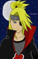 Deidara under the moonlight by Moonlugia