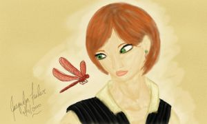 Lady and A Dragonfly by jacquelynfisher
