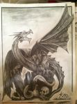 Dragon pencil drawing by Kbgecko