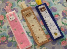Felt animal bookmark set by kneazlegurl125