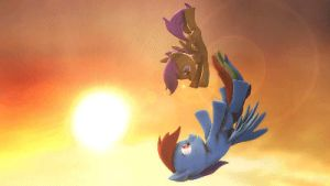 Rainbow and Scootaloo Falling - Animated by argodaemon