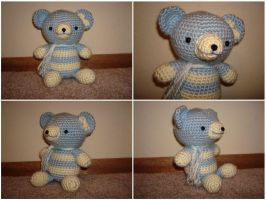 Crochet Lt. Blue Teddy Bear by katrivsor