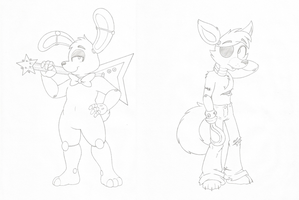 Bonnie & Foxy character practice by Joey-Darkmeat