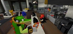 Sonic and friends at McDonalds by Mijumaru00
