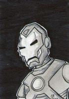 B-n-W Iron Man sketch card by johnnyism