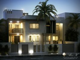 Libya contemp villa b night render by kasrawy