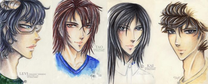 Mini-Portraits: Levi, Tao and Kai by Khallandra