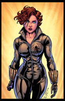 Oldschool Black Widow (MCU) Colored by CdubbArt