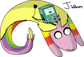 Adventure Time Lady Rainicorn and BMO by wilcox6
