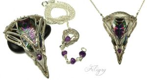 Mystery - Mystic Quartz and Amethyst Pendant by FILIGRY