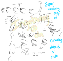 super confusing page of cervidog details by Ingiebunny