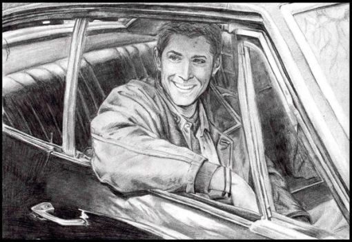 Jensen Ackles: Dean and Impala by Coverd-n-rain