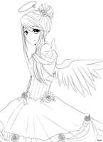 Rose Angel LineArt by Reverrii