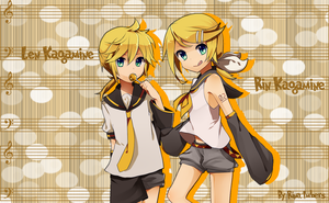 Len and Rin Kagamine Wall by rina-imbers