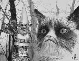 The Gnome and the Cat by waveart