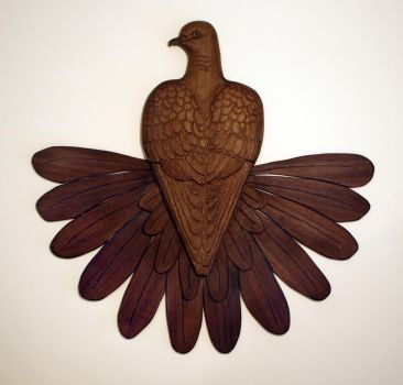 Fantail Dove walnut wood carving. by ZackMclaughlin