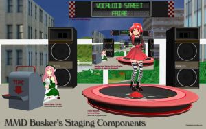 MMD Busker's Stage Components Set by Trackdancer