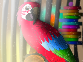 Green Wing Macaw by AppleBirdie